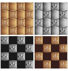 gold and silver seamless patterns royal lily set vector image vector image