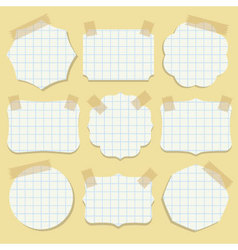 Note paper shapes with tape vector image