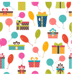 seamless pattern with colorful gift boxes and vector image