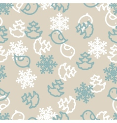 Seamless winter background with snowflakes birds vector image