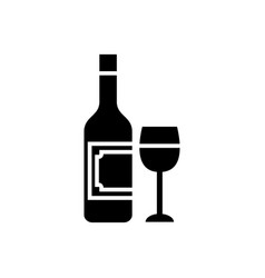 wine and glass icon black vector image