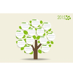 2015 modern calendar with nature background vector