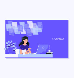 a young woman writing while sitting in her office vector image