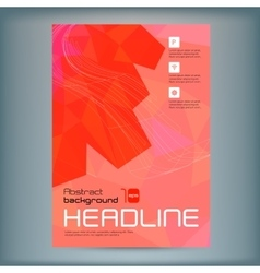 abstract flyer template with red polygons vector image