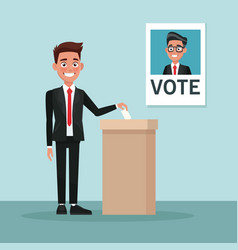 Background scene man in suit vote for male vector