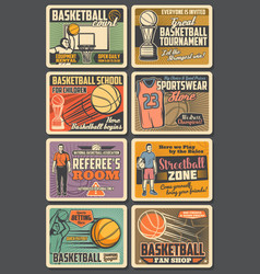 basketball players retro vintage posters vector image