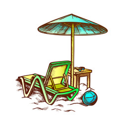 Beach chair with umbrella and stool retro vector