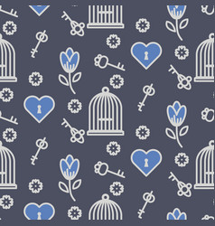 bird cage romantic outline seamless pattern vector image