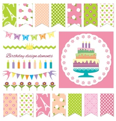 birthday party design elements vector image