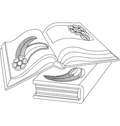 Black and white of two books with vector