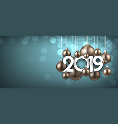 blue festive 2019 new year banner with gold vector image