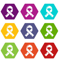 cancer ribbon icons set 9 vector image