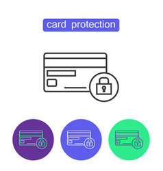 card protection outline icons set vector image