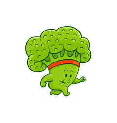 Cartoon broccoli character jogging vector