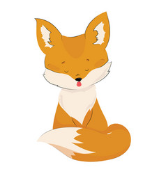 cartoon fox is sitting stylized cute fox vector image