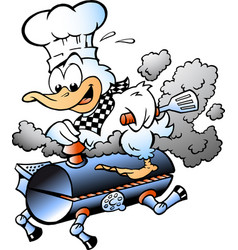 cartoon of an chef duck riding a bbq grill barrel vector image