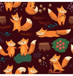 Cartoon seamless pattern with cute foxes vector image