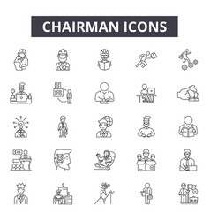 chairman line icons signs set outline vector image