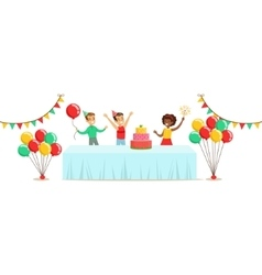 Children With The Decorated Table Kids Birthday vector image