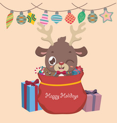 christmas greeting with a reindeer presents and vector image