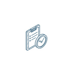 clipboard and clock to-do list isometric icon 3d vector image