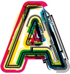 Colorful Grunge font LETTER A vector image