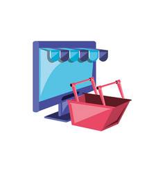 Computer monitor with parasol store and basket vector