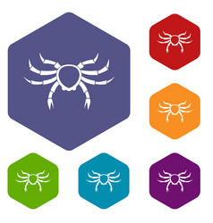 Crab sea animal icons set hexagon vector