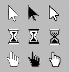 Cursor set - mouse hand arrow hourglass vector