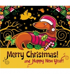 dachshund Christmas card vector image