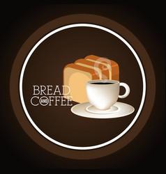 delicious halved bread and coffee label vector image
