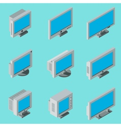 Desktop computer monitor icons vector