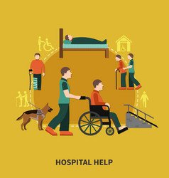 disabled person flat composition vector image