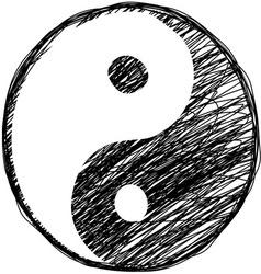 Doodle yin-yang symbol vector image