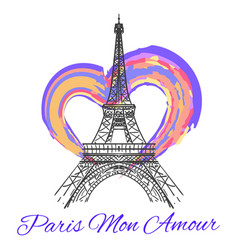 Eiffel tower with colorful bright heart vector