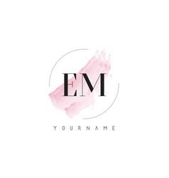 Em e m watercolor letter logo design vector