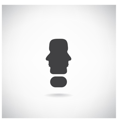 Exclamation mark man head symbol vector
