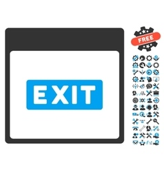 Exit Caption Calendar Page Icon With Bonus vector