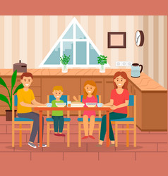 family eating home mom and dad with kids vector image