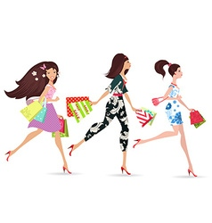 Fashion ladies walking with shopping vector