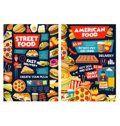Fast food burger pizza hot dog fries and soda vector