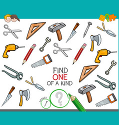 Find one of a kind game with tools vector