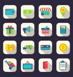 flat icons of e-commerce shopping symbol online vector image