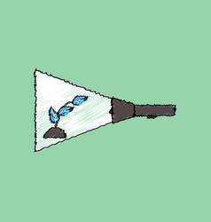 Flat shading style icon flashlight and plant vector