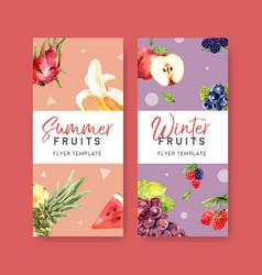 Flyer design with fruits theme creative summer vector