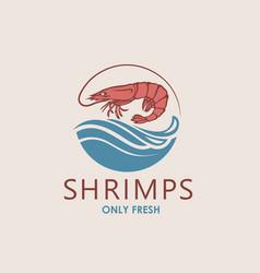 Fresh shrimp label vector