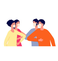 Friends bumping elbows distance greeting vector