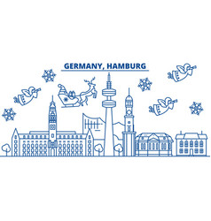Germany hamburg winter city skyline merry vector