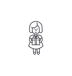 girl with a gift line icon sign vector image