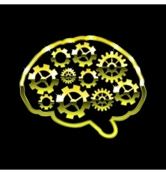 Golden chrome brain with gears Think design over vector image
